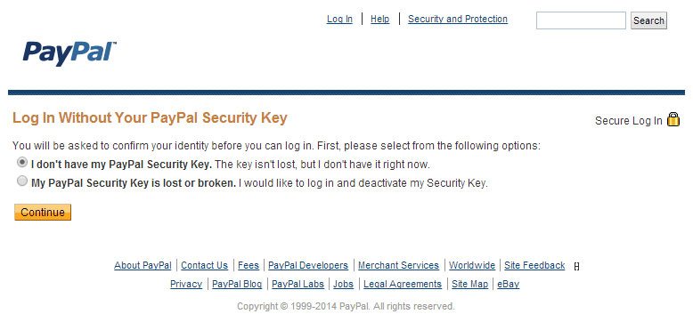 Screenshot of PayPal form to bypass two-factor authentication